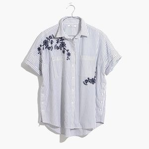 Madewell Striped Embroidered Courier Shirt
